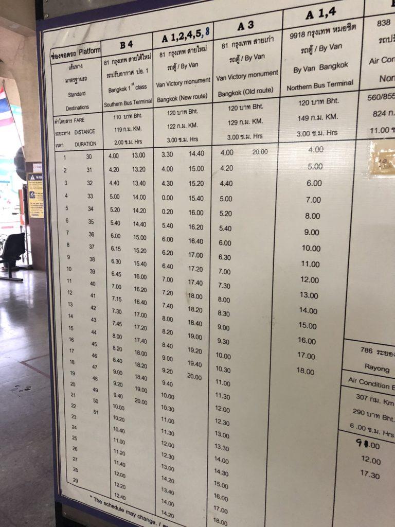 カンチャナブリからバンコクまでのバス時刻表