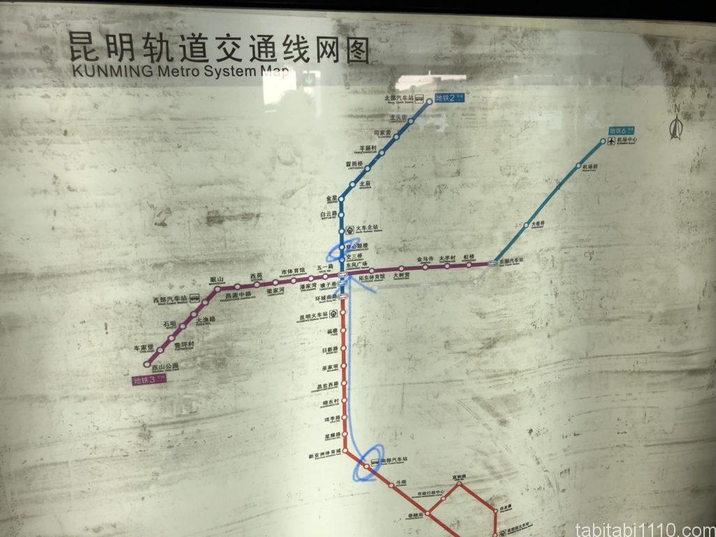 昆明の電車の路線図