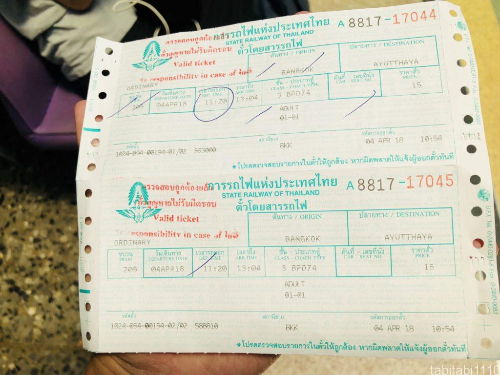 バンコクから電車でアユタヤへ|切符