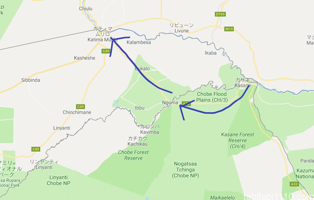 ボツワナ・カサネとナミビア・カティマムリロの位置関係