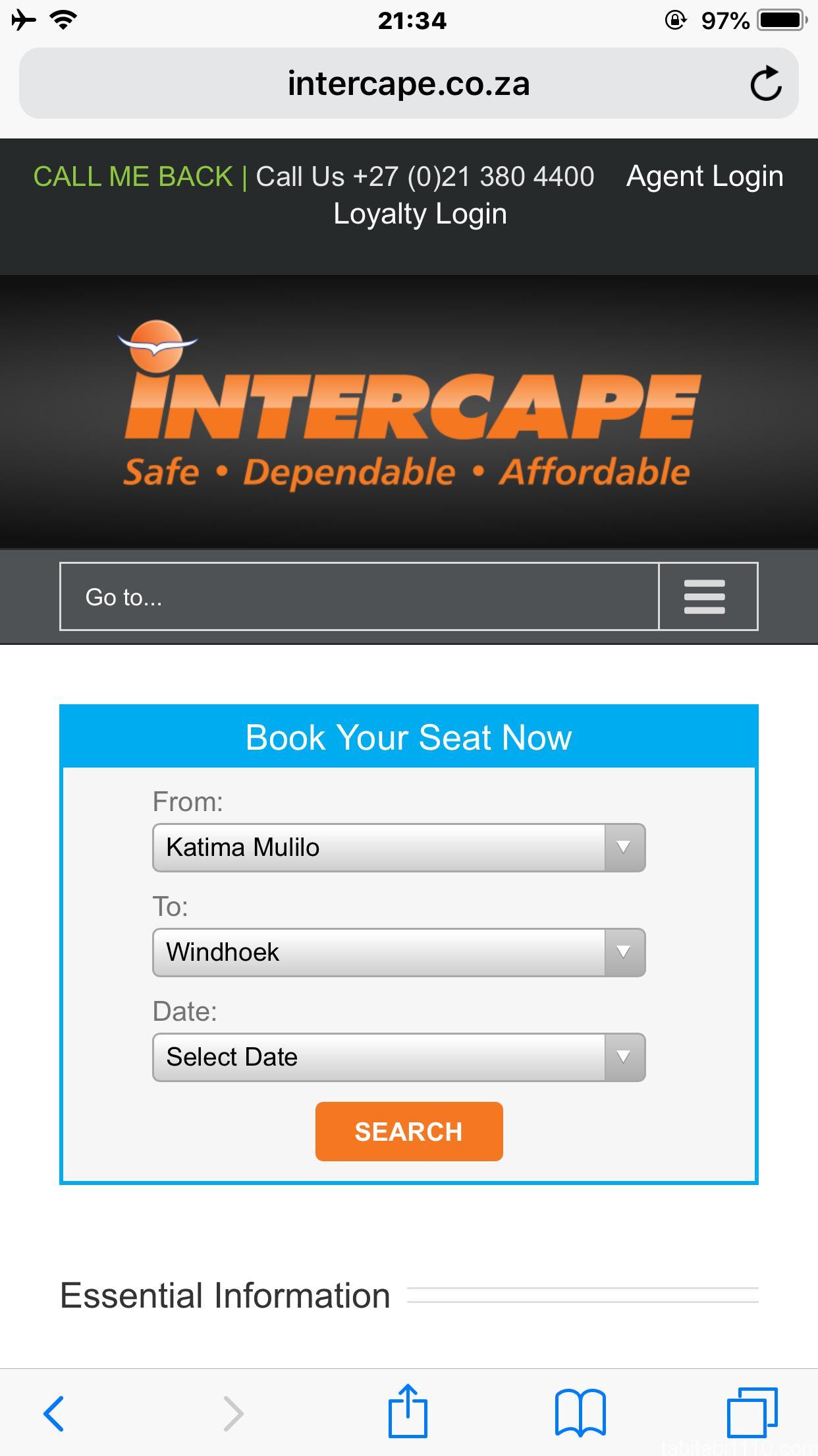 カティマムリロ→ウィントフック |インターケープ社の検索画面