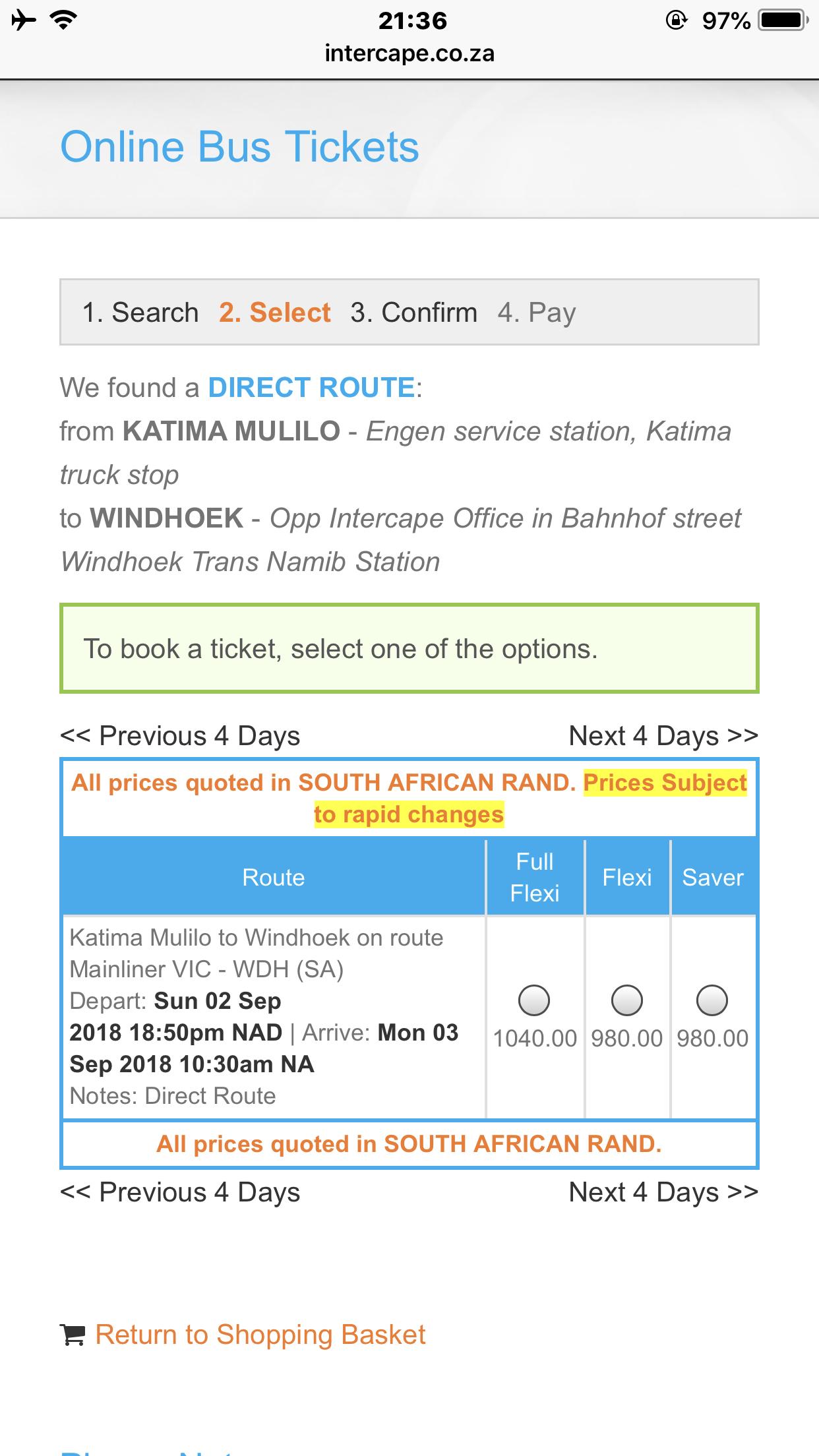 カティマムリロ→ウィントフック |インターケープ社の選択画面