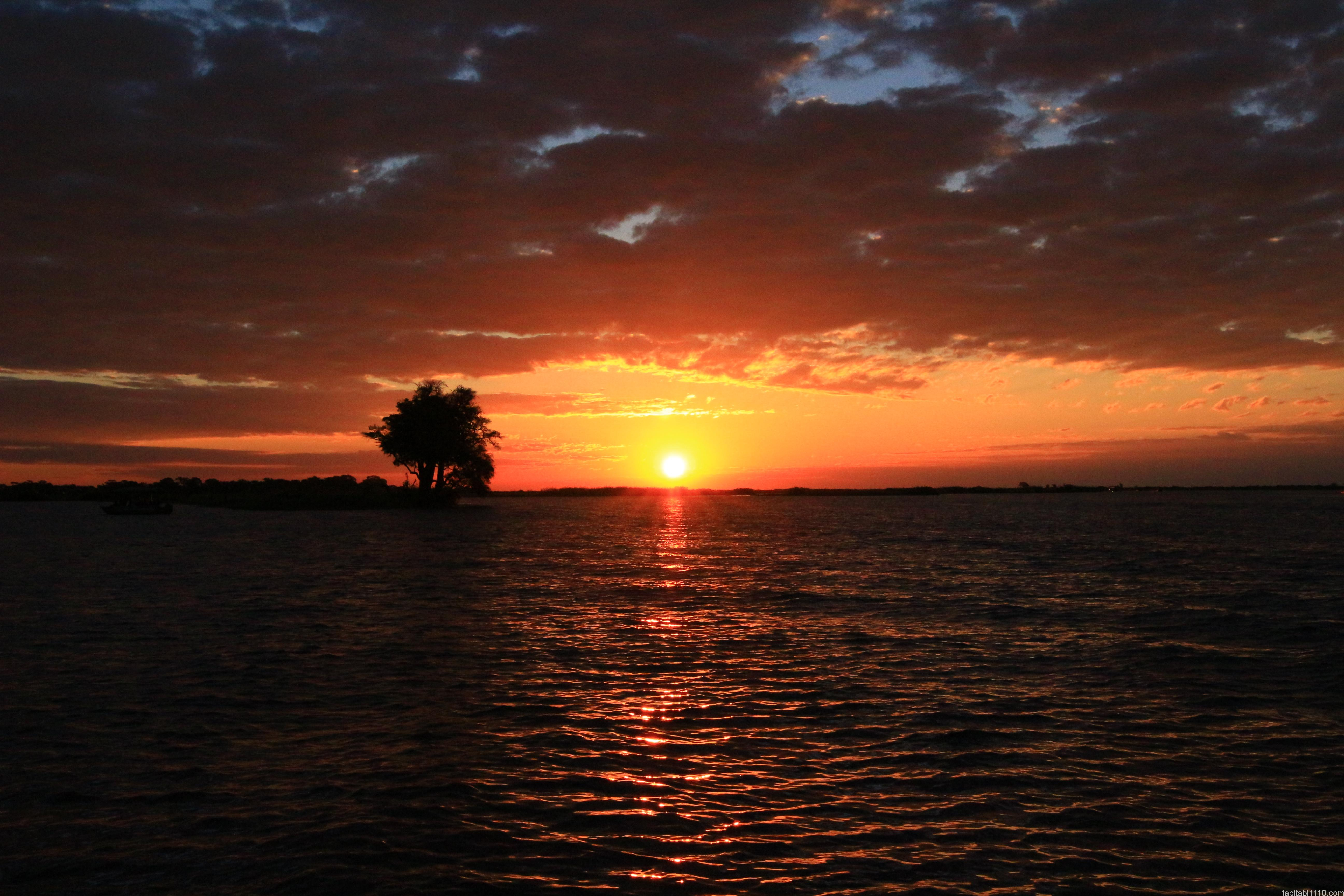 ボツワナ|チョベ|ボートサファリの夕日