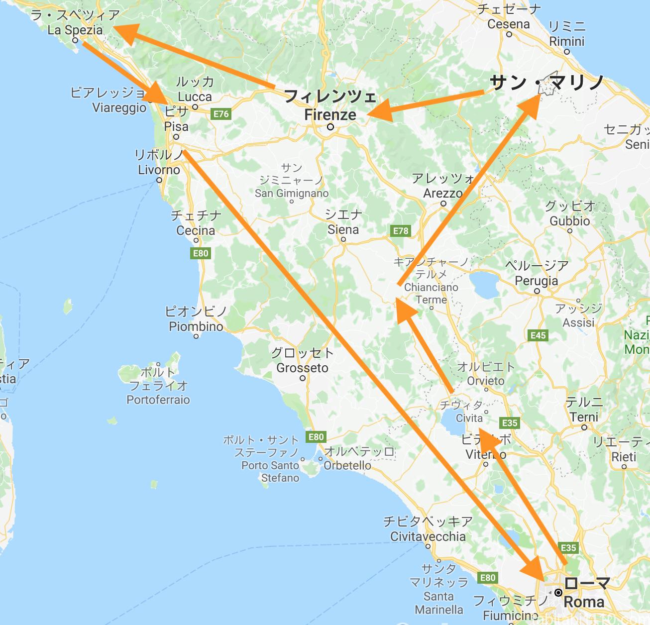 イタリアレンタカー旅のルート