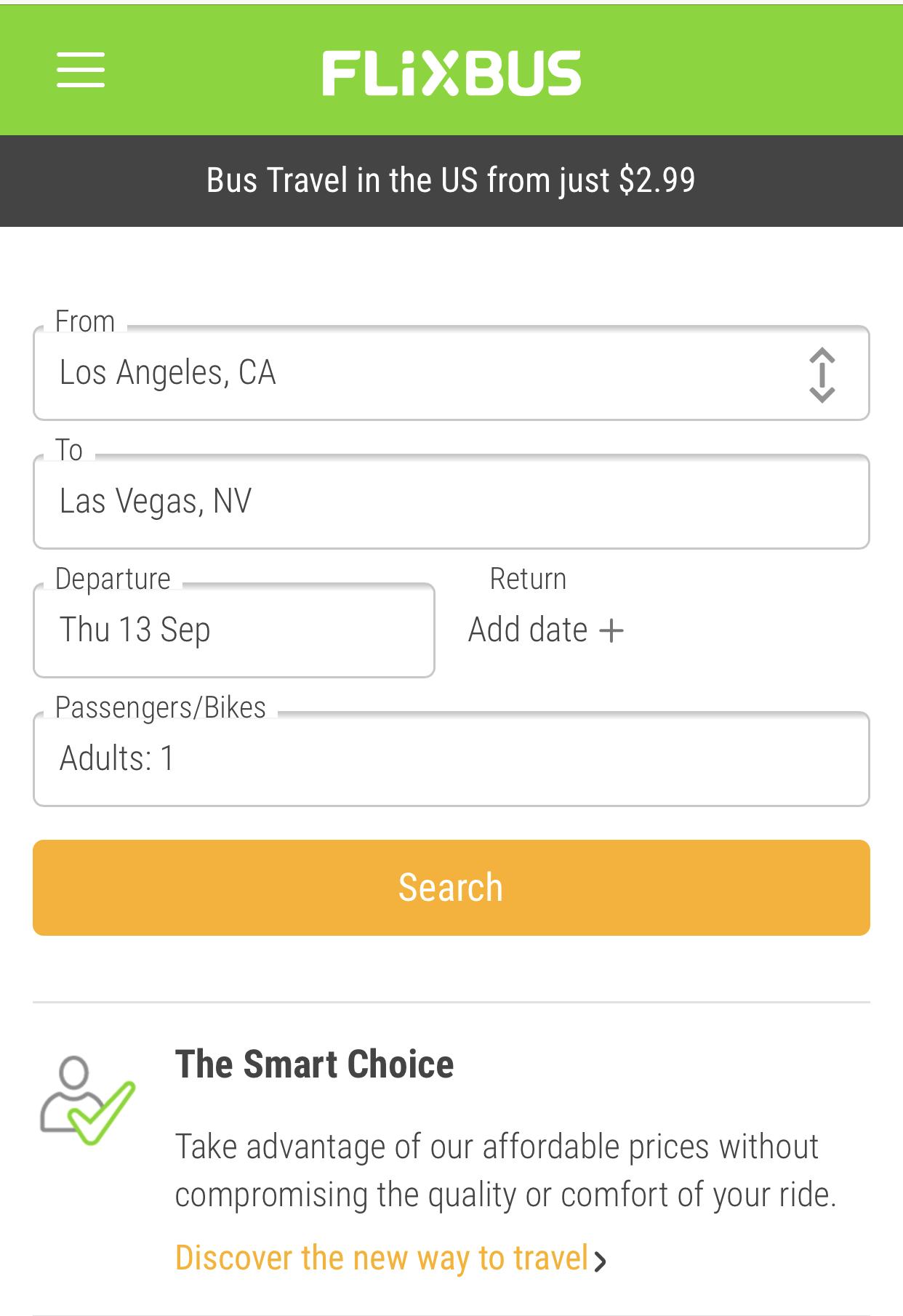 FlixBus|検索条件の入力