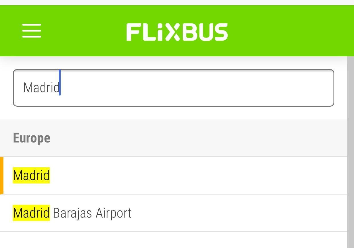 FlixBusの予約|マドリードの出発地候補