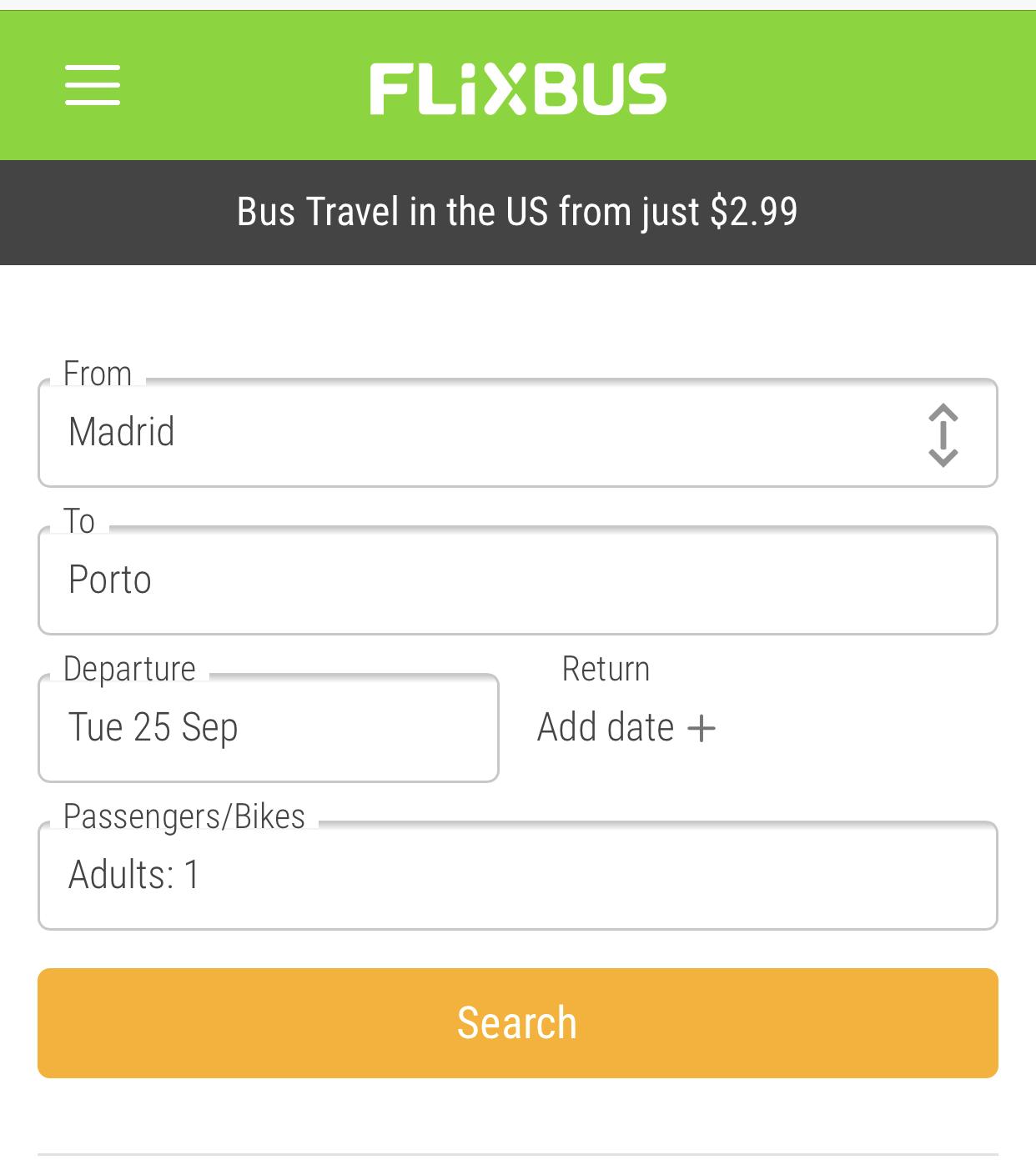 FlixBusの予約の仕方|検索条件の入力