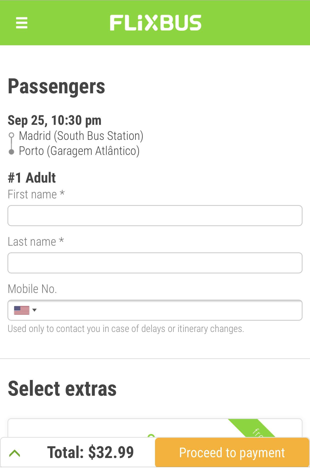 FlixBusの予約の仕方|詳細情報の入力