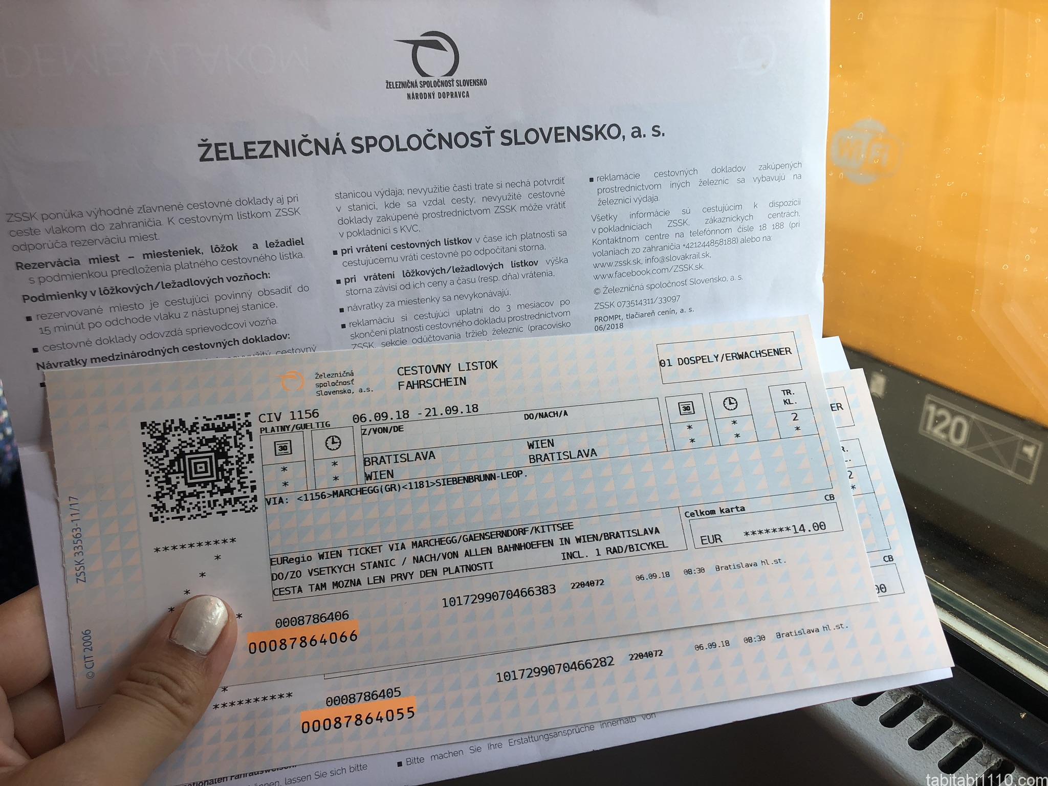 ブラチスラバからウィーンへのチケット