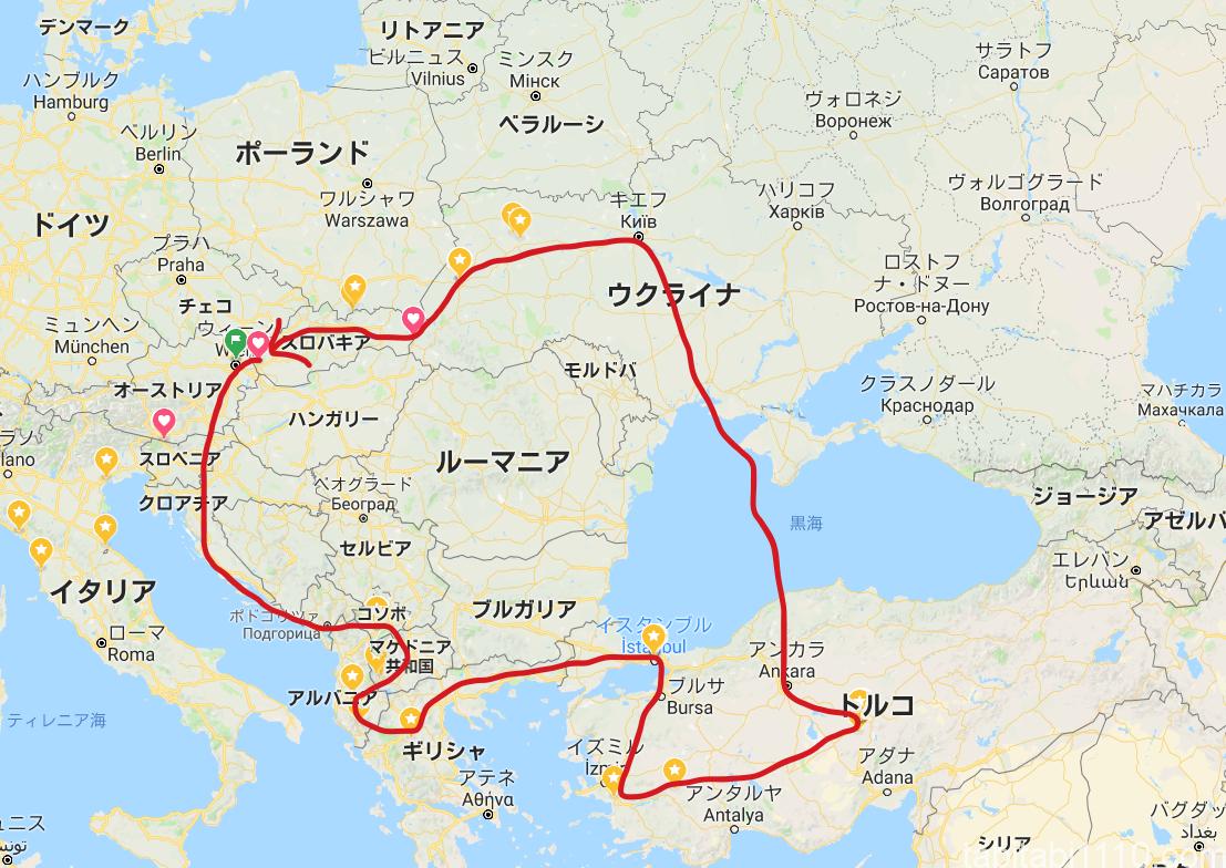 バルカン周遊マップ