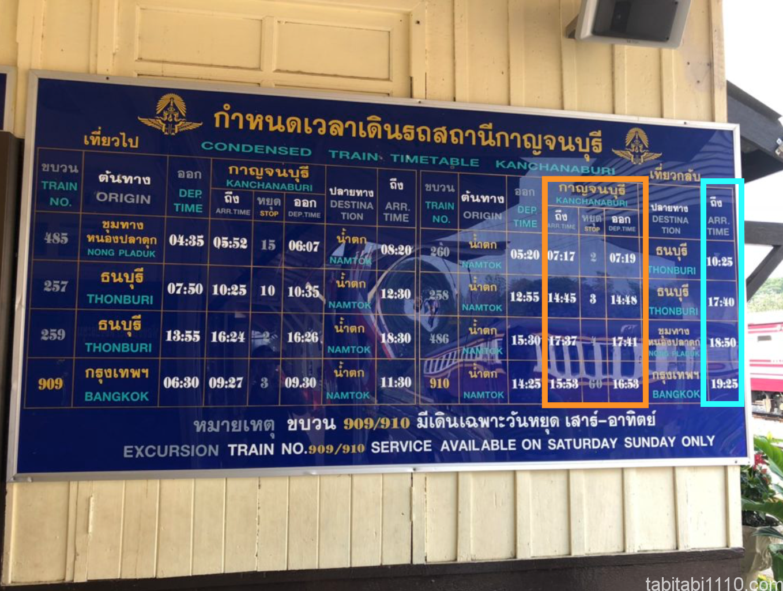 カンチャナブリからバンコクへの電車の時刻表