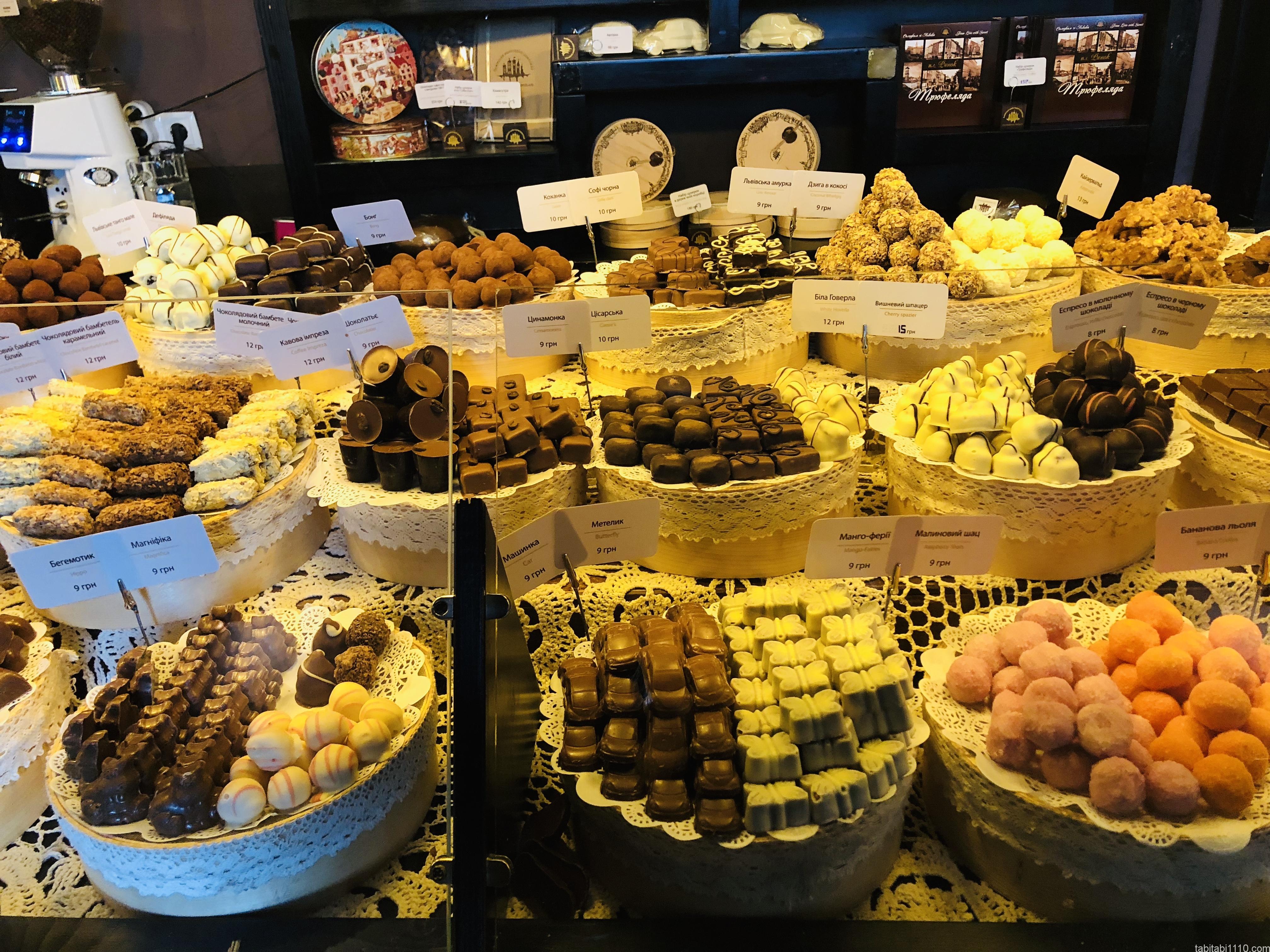 リヴィウハンドメイドチョコレート|ウジホロド店内のチョコレート