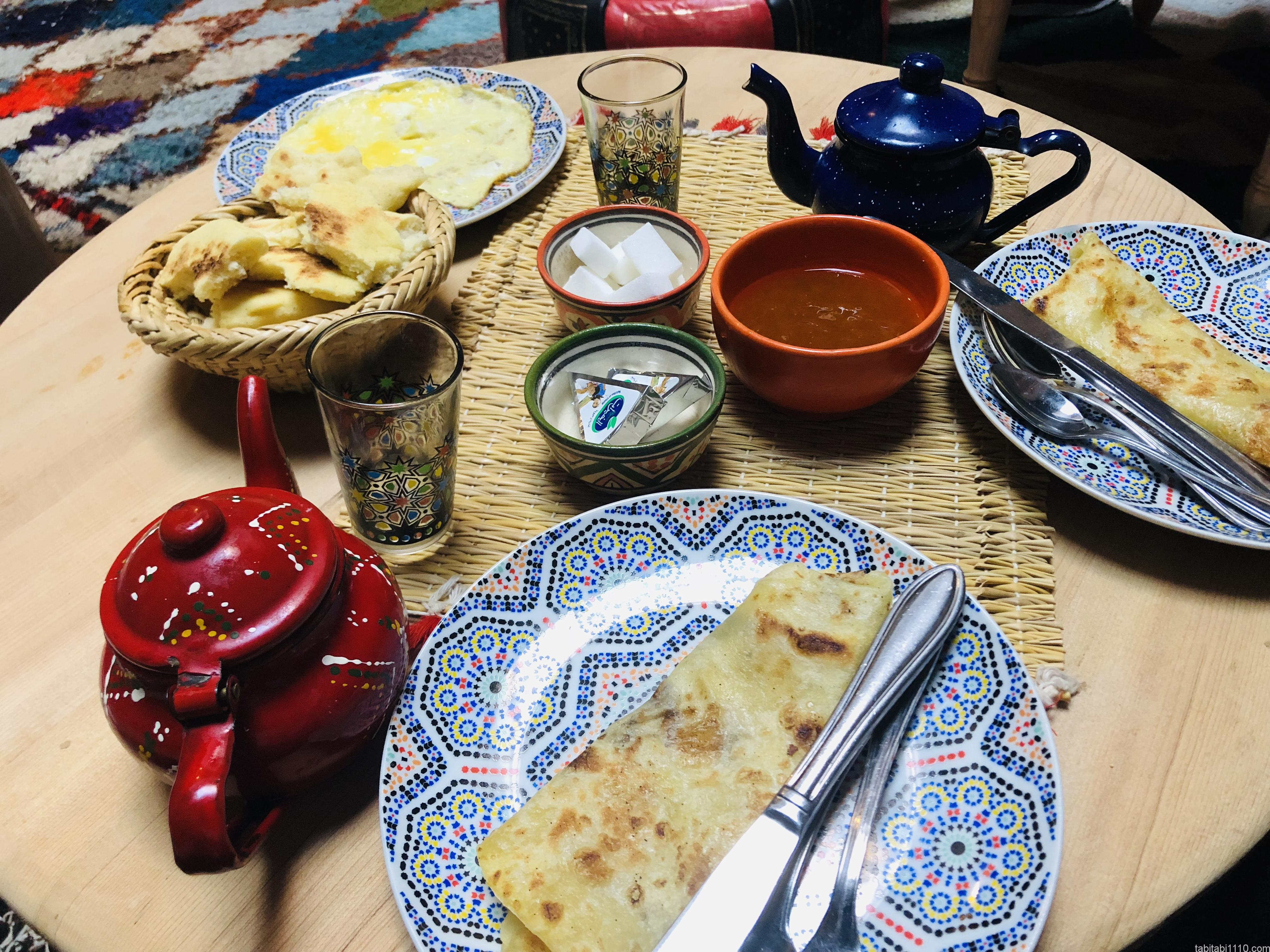 マラケシュの宿の朝食