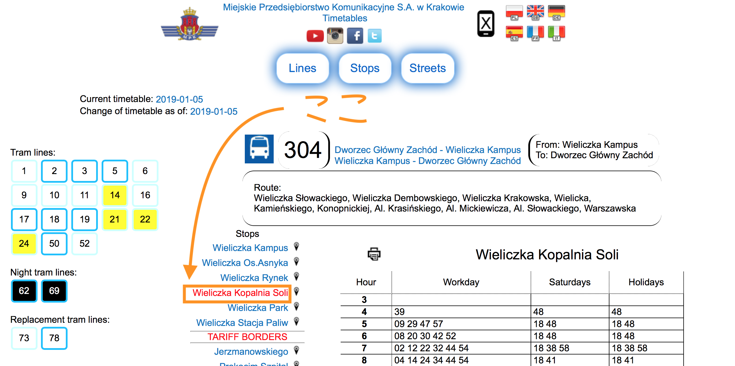 ヴィエリチカ岩塩坑からクラクフへのバス時刻表の確認の仕方