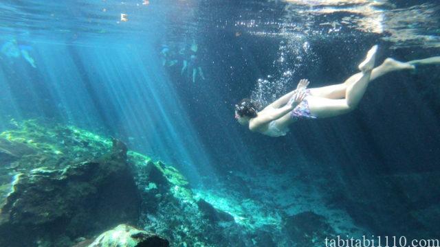 グランセノーテ|光のカーテンと記念撮影