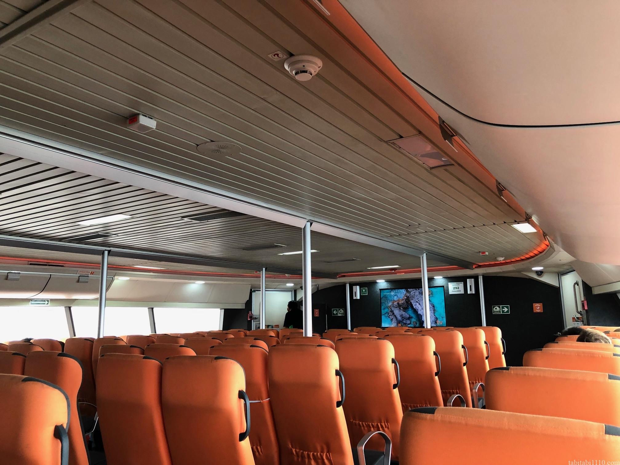 コスメル島からプラヤデルカルメンへのフェリー船内