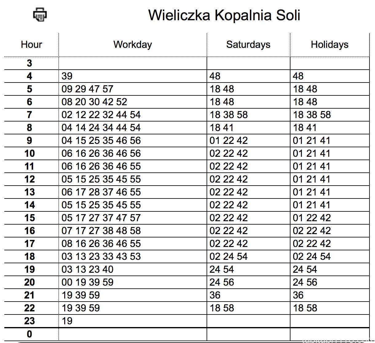 ヴィエリチカ岩塩坑からクラクフへのバス時刻表