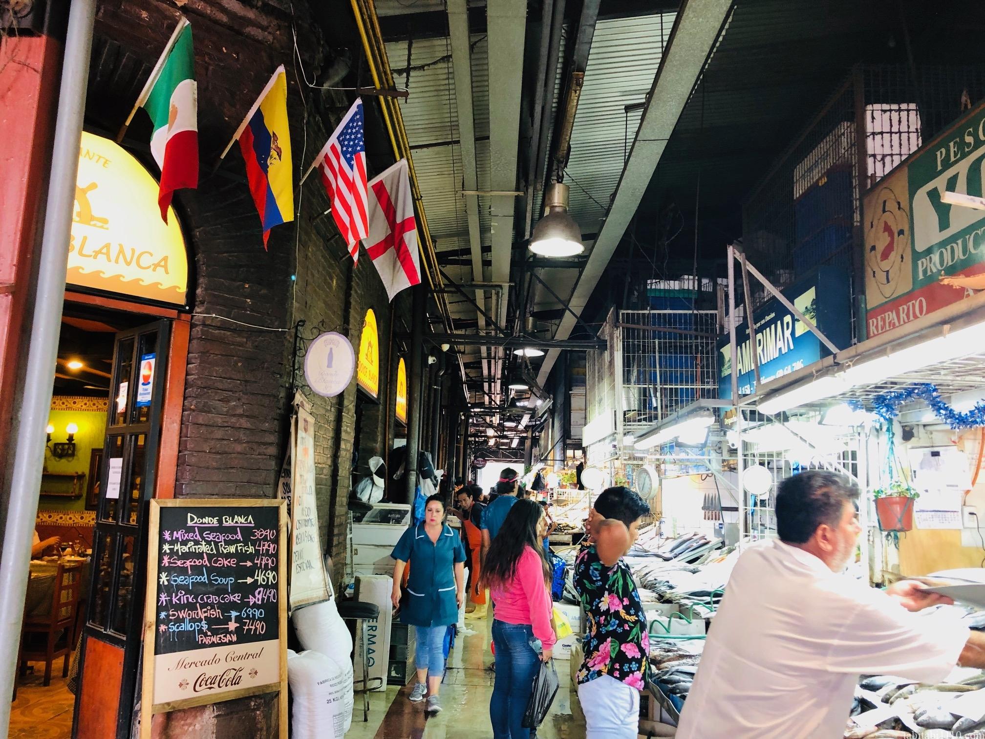 サンティアゴ観光 街歩き 中央市場