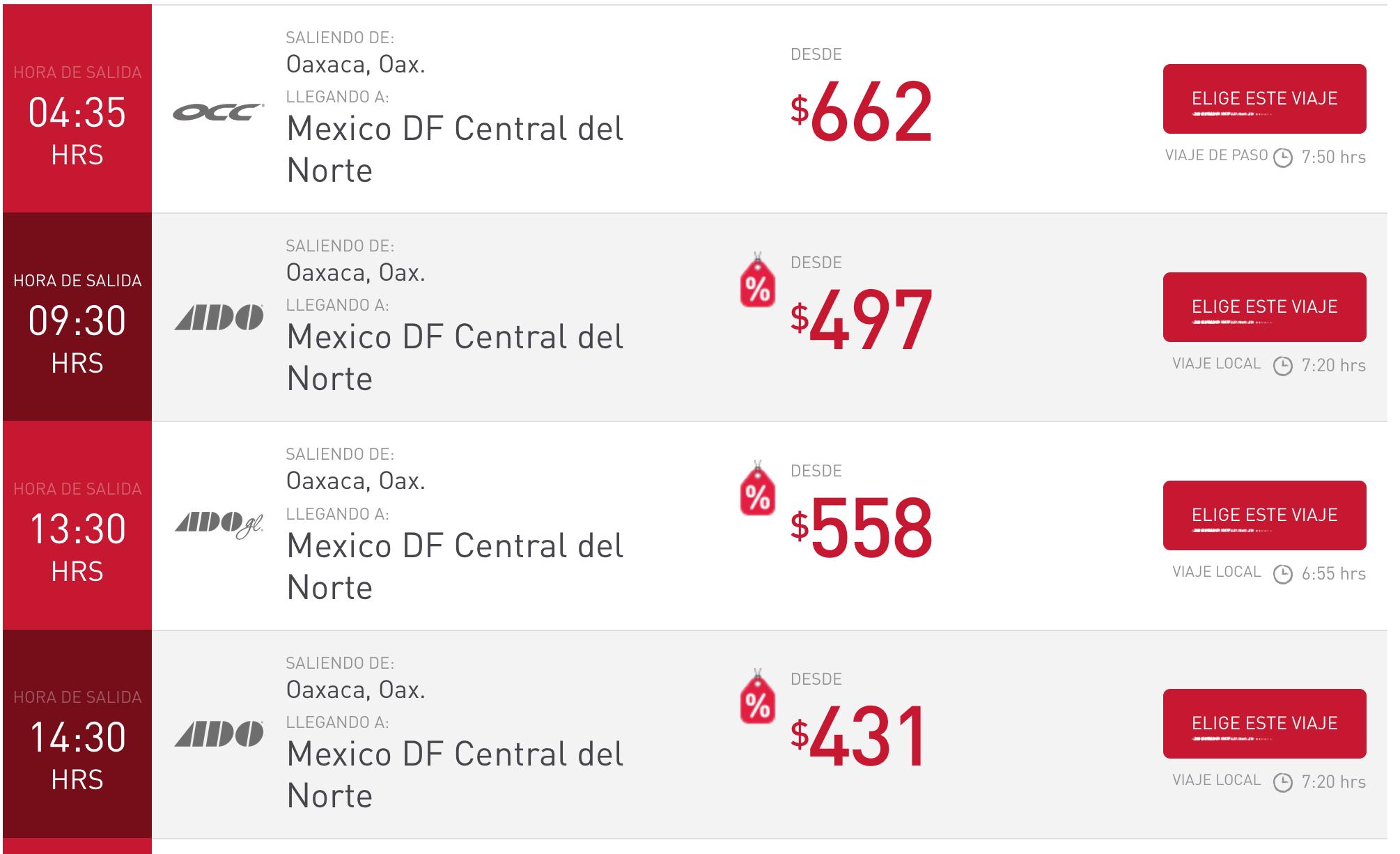 オアハカ メキシコシティ バス 時刻表