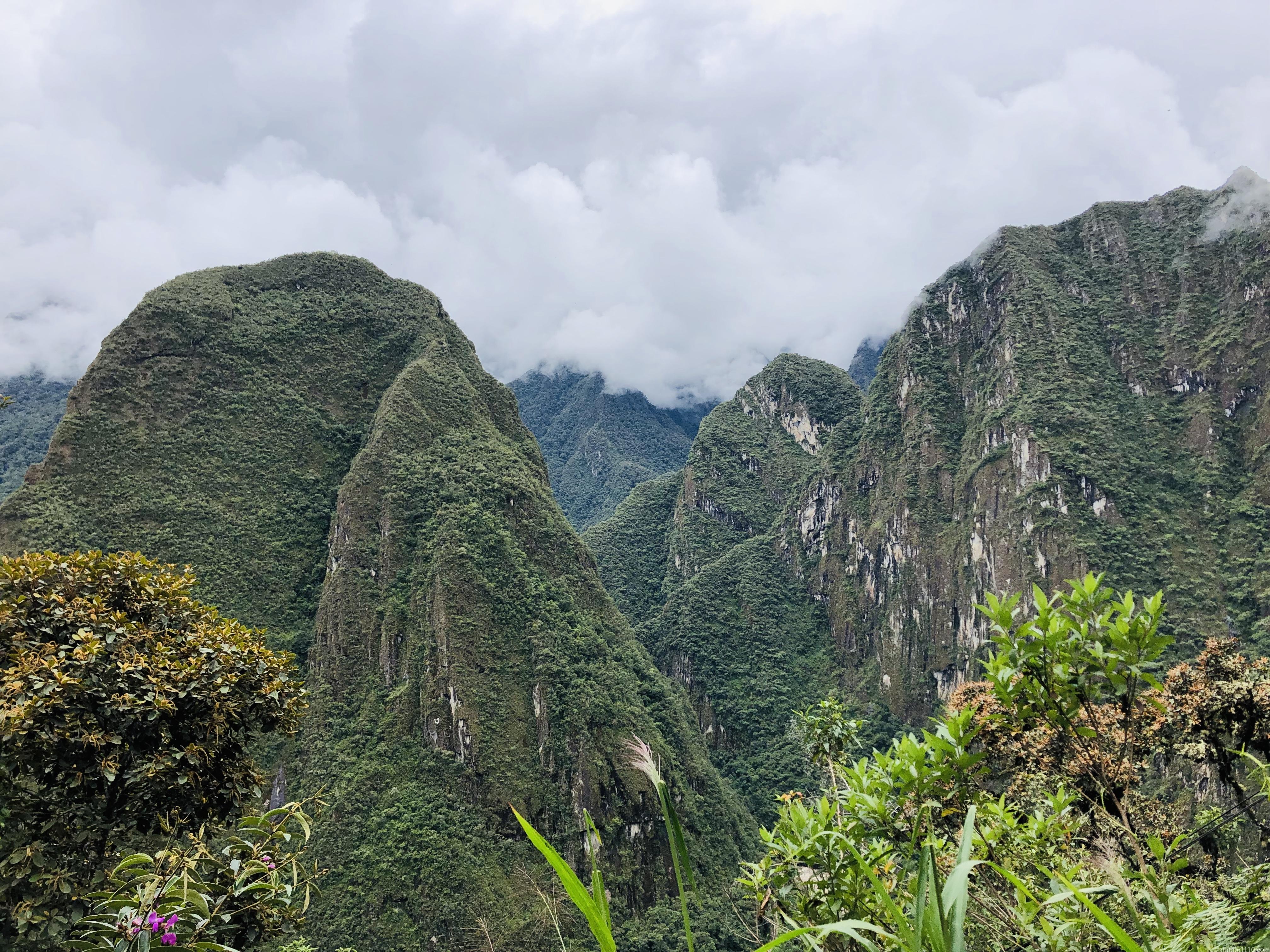 マチュピチュ村からマチュピチュへの登山中の景色