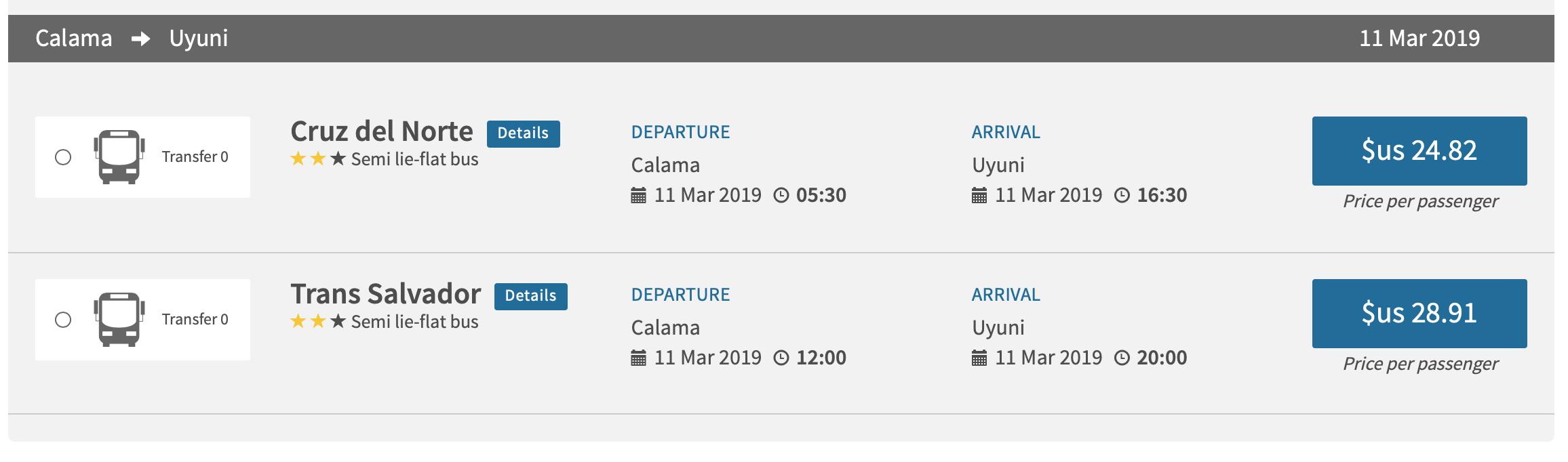 カラマ ウユニ バス 時刻表