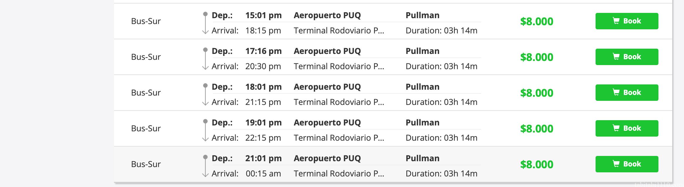 プンタアレナス空港からプエルトナタレスへのバスの時刻表